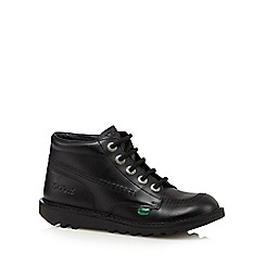 Kickers - Boy's black leather high cuff boots