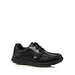 Kickers - Boy's black leather reflective lace up shoes