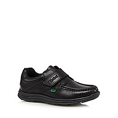 Kickers - Boy's black leather cushion foam rip tape shoes