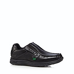 Kickers - Boy's black leather slip on shoes