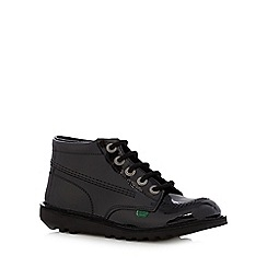 Kickers - Girl's black leather patent lace up boots