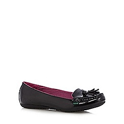 Kickers - Girl's black leather patent slip on shoes