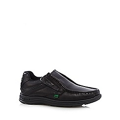Kickers - Boy's black leather 'Micro-Fresh' slip on shoes