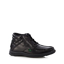 Kickers - Boy's black leather lace up boots