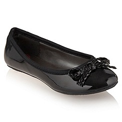 bluezoo - Girl's black patent ballerina pumps