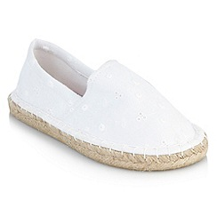 bluezoo - Girl's white broderie espadrilles