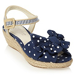 bluezoo - Girl's navy spotted canvas sandals