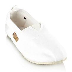 bluezoo - Boy's white canvas slip on shoes