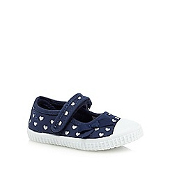 bluezoo - Girls' navy heart print shoes