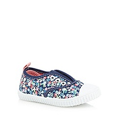 bluezoo - Girls' navy floral print eyelet shoes