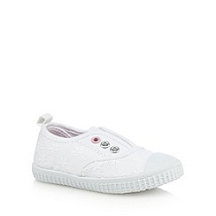 bluezoo - Girls' white broderie eyelet shoes