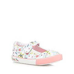 bluezoo - Girls' white floral print beaded shoes