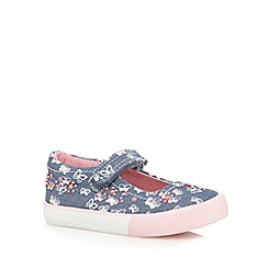 bluezoo - Girls' navy chambray butterfly print beaded shoes