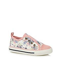 Mantaray - Girls' pink floral slip-on shoes