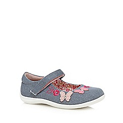bluezoo - Girls' blue flower applique flat shoes