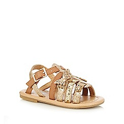 bluezoo - Girls' brown and gold butterfly applique sandals