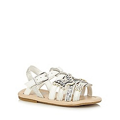 bluezoo - Girls' white and silver butterfly applique sandals