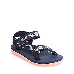 Mantaray - Girls' navy sea print sandals