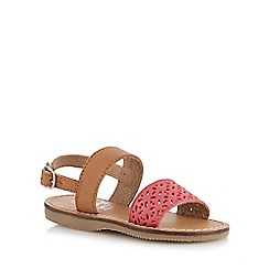 Mantaray - Girls' pink leather cut-out sandals