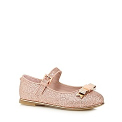 Baker by Ted Baker - Girls' pink glittery bow applique shoes