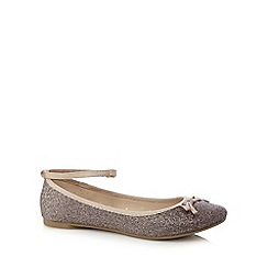 bluezoo - Pink glittery bow detail flat shoes