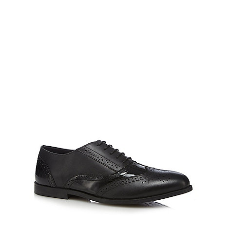 Black mixed leather brogue school shoes