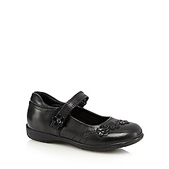 Debenhams - Girls' black flower school shoes