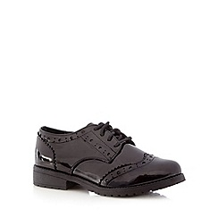 Debenhams - Girls' black patent brogues