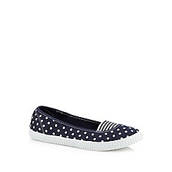 bluezoo - Girls' navy polka dot print flat shoes