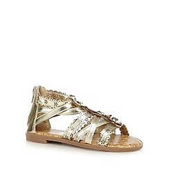 bluezoo - Girls' gold floral diamante applique gladiator sandals