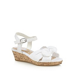 bluezoo - Girls' white broderie bow applique wedged sandals