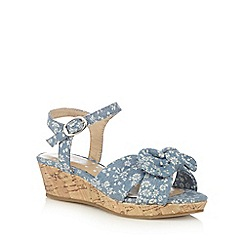 bluezoo - Girls' blue chambray floral print wedge sandals