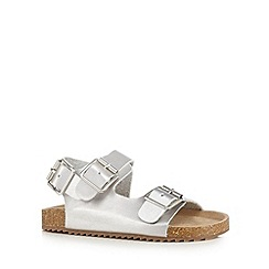 Mantaray - Girls' silver footbed sandals