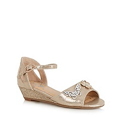 bluezoo - Gold floral applique wedge sandals