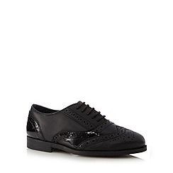 Debenhams - Girls' black leather wide fit brogues