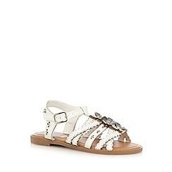 bluezoo - Girls' white floral diamante applique sandals