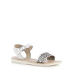 Mantaray - Girls' white leather cut-out sandals