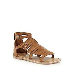 Mantaray - Girls' tan leather fringed sandal