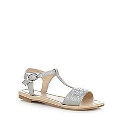 bluezoo - Girls' silver flower jewelled sandals