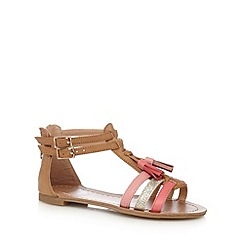 bluezoo - Girls' tan tasselled sandals