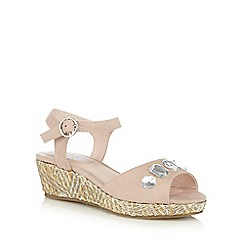 bluezoo - Girls' light pink jewel embellished wedge sandals