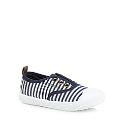 bluezoo - Girls' navy stripe print eyelet shoes