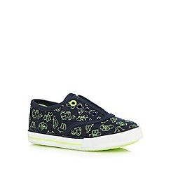 bluezoo - Boys' navy vehicle print slip-on shoes