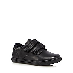 Debenhams - Boys' black leather rip tape wide fit trainers