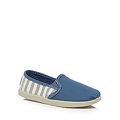 bluezoo - Boys' blue striped print canvas slip-on shoes