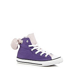 Converse - Girls' purple glitter bow 'All Star' trainers