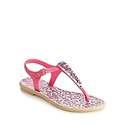 Grendha - Girls' pink stone animal print sandals