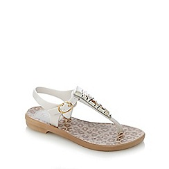 Grendha - Girls' white stone animal print sandals
