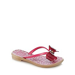 Grendha - Girls' pink bow animal print sandals