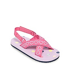 Animal - Girls' pink and lilac stitched heart flip flops